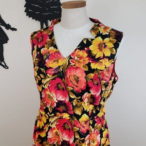Hearts and Roses Black Floral Dress